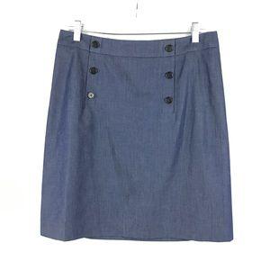 Loft Sz 8 Sailor Style Chambray Pencil Skirt Blue